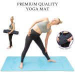 Product photographer shooting yoga mat with live model